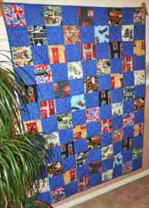 Patchwork quilt using British novelty fabrics.