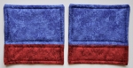 Blue and red fabric coasters