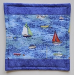 Single fabric coaster with yachts.