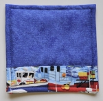 Fabric coaster with fishing boat fabric detail